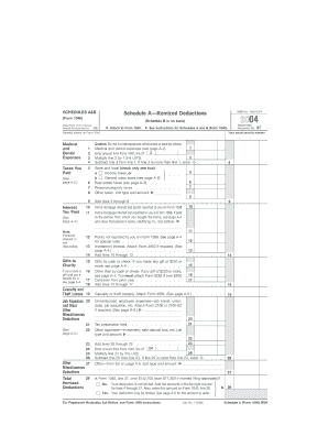 Fillable Online 2004 Schedule A & Schedule B (Form 1040