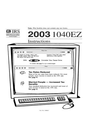 Fillable Online 2003 Instructions for Form 1040EZ. U.S