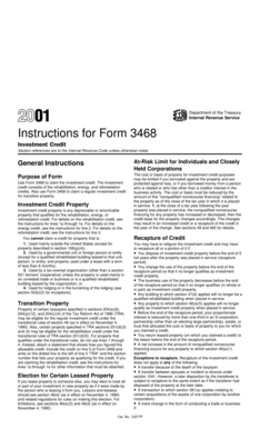 Fillable Online 2001 Instructions for Form 3468