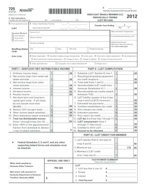 2012 Form KY DoR 725 (41A725) Fill Online, Printable