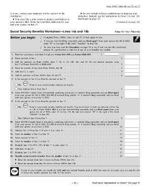 Fillable Online Social Security Benefits Worksheet Lines