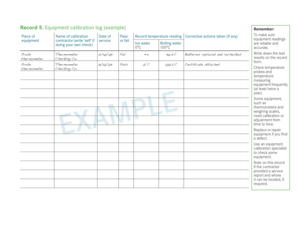 Fillable Online Record 5: Equipment calibration log