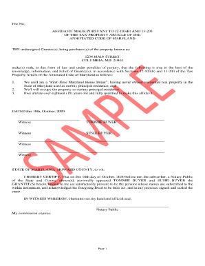Bill Of Sale Form Maryland Affidavit Of Residence Or