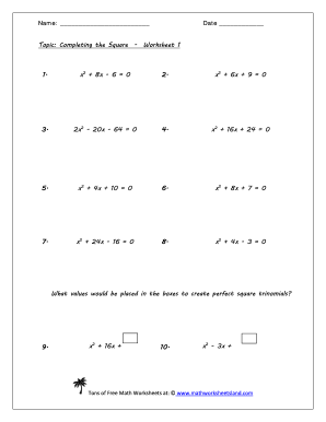All Worksheets » Completing The Square Worksheets