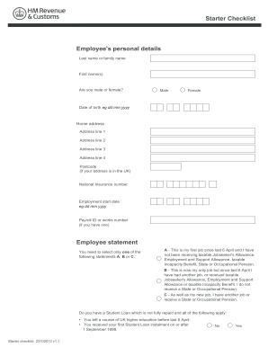 Hm Revenue Starter Checklist Sample - Fill Online, Printable ...