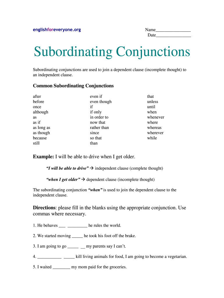 hight resolution of Subordinating Conjunctions Exercises With Answers Pdf - Fill Online