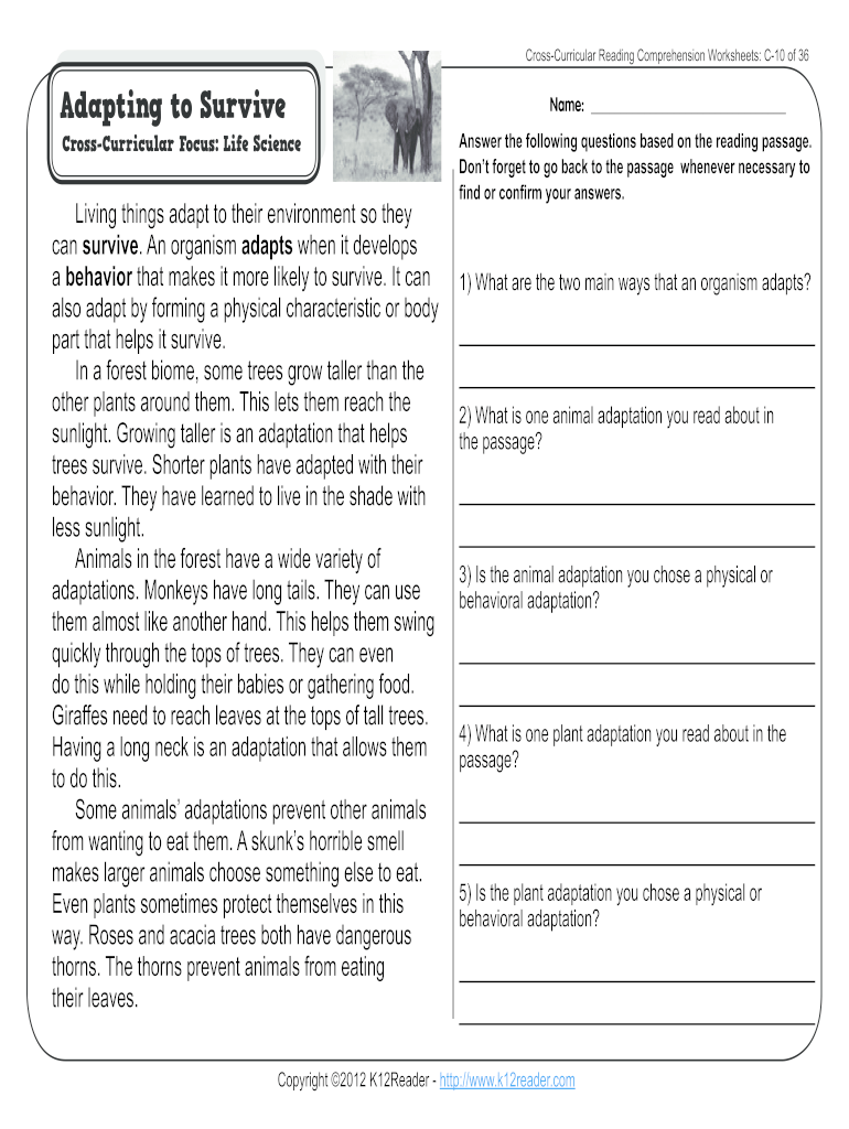 medium resolution of Animal Adaptations Worksheets Pdf - Fill Online