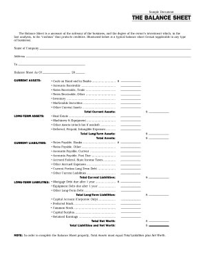 Simple Balance Sheet Template Forms - Fillable & Printable Samples ...