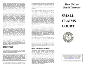 Fillable Online ujs sd Small Claims Procedure Brochure