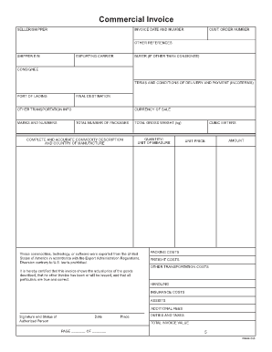 Commercial Invoice Template Forms - Fillable & Printable Samples for ...
