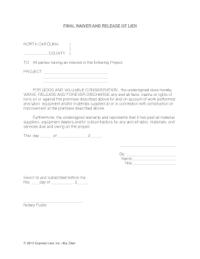 18 Printable subcontractor lien release form Templates ...