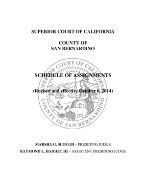 Fillable Online sb-court Schedule of Assignments
