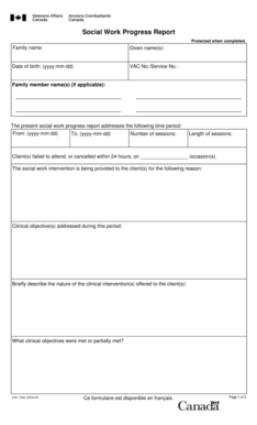 Fillable Online Social Work Progress Report Fax Email