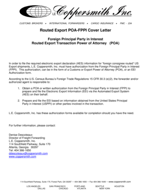Printable fppi power of attorney  Edit Fill Out  Download Forms Templates in PDF  customs