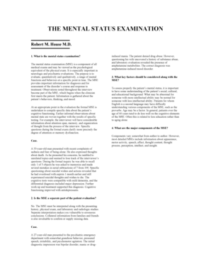 20 Printable Brief Mental Status Exam Mse Form Templates