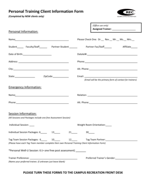17 Printable Free Personal Trainer Forms Templates Fillable
