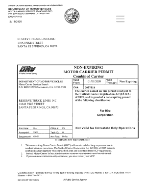 Ca motor carrier permit for California dmv motor carrier permit