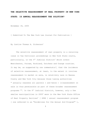 Fillable Online nycourts The Selective Reassessment Of