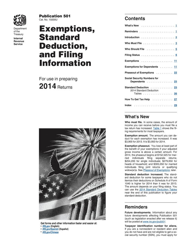 2014 Form IRS Publication 501 Fill Online, Printable