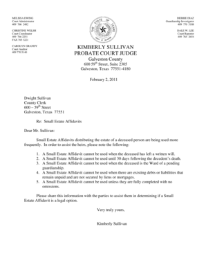 Fillable Online Small Estate Affidavit Cover Letter Fax
