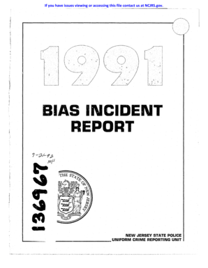 Fillable Online ncjrs BIAS INCIDENT REPORT NEW JERSEY
