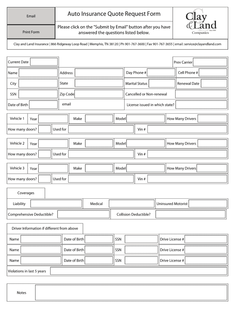 Car Insurance Form Template Fill Online Printable Fillable Blank Pdffiller