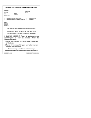 Florida Automobile Insurance Identification Card Fill Online Printable Fillable Blank Pdffiller