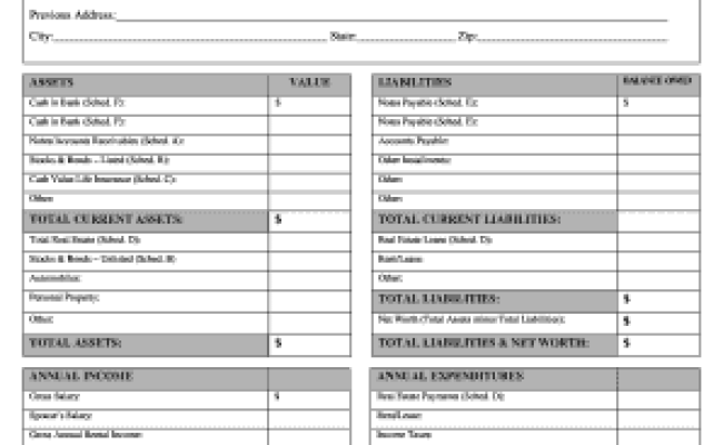 26 Printable Personal Financial Statement Form Templates