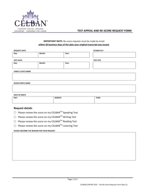 Fillable Online TEST APPEAL AND RESCORE REQUEST FORM Fax