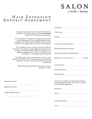 Hair Extension Form  Fill Online Printable Fillable