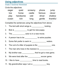 Adjectives Worksheets For Grade 3 - Fill Online [ 1024 x 770 Pixel ]