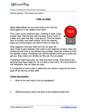 Fillable Online Reading Comprehension Worksheet Fire Alarm