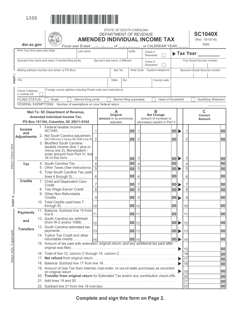 2018 Form SC DoR SC1040X Fill Online, Printable, Fillable