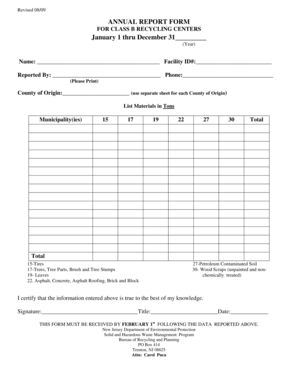 Fillable Online nj ANNUAL REPORT FORM January 1 thru