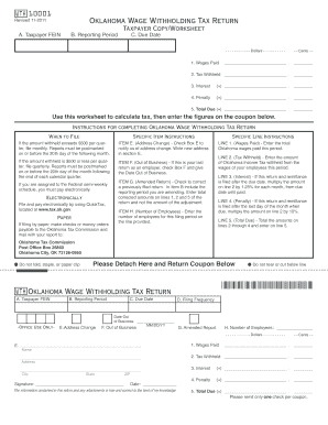 2011 Form OK OTC WTH 10001 Fill Online, Printable