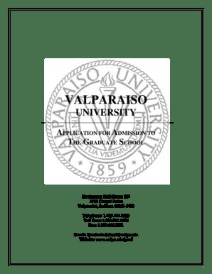 Fillable Online valpo Valparaiso university application