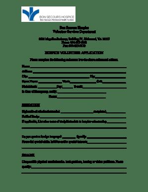 Fillable Online Bon Secours Hospice Volunteer Services