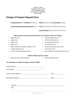 Fillable Online Change of Program Request Form