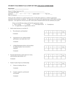 8 Printable teacher evaluation form for students Templates