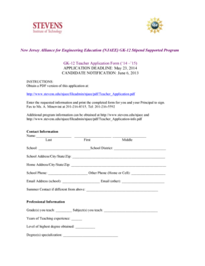 Fillable Online stevens Teacher's Application Form (PDF
