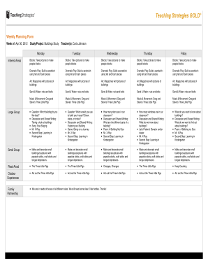 Fillable weekly lesson plan template elementary and