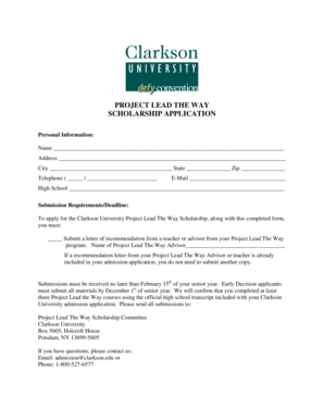 Fillable Online clarkson Project lead the way scholarship