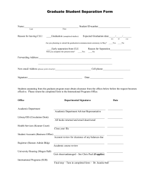 Graduate Student Separation Form Online California