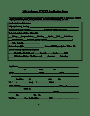 Fillable Online ualr 2004 Arkansas STRIVE Application Form