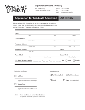 Fillable Online art wayne Application for Graduate