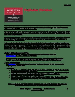 Fillable Online Wesleyan Verification Worksheet