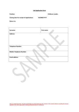 6 Printable sample completed job application Forms and