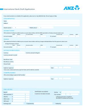 Anz Bank Draft Fill Online Printable Fillable Blank Pdffiller