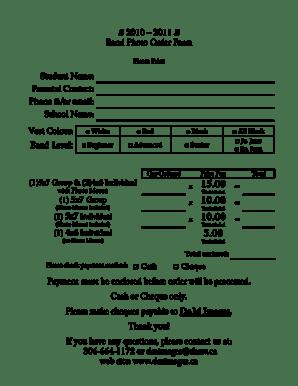 Fillable Online spiritsd 2010 2011 Band Photo Order Form