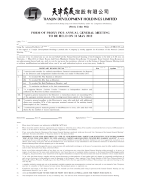 Fillable Online Form of Proxy for Annual General Meeting